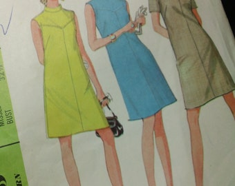 McCalls Pattern 9071- Misses' Fitted Dress in Two Versions vintage 1967 cut Misses Size 10 sewing pattern