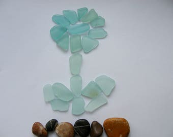 Blue Natural Sea Glass Flower Decor Sea Glass Jewelry Vintage Glass