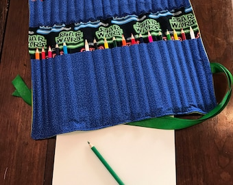 Star Wars pencil roll, pencil holder, colored pencil case, crayon roll, drawing supplies, boy birthday gift, boy Christmas gift