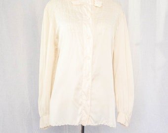 Vintage 1970's 'Cloudmere' Embellished Cream Silk Blouse Size L