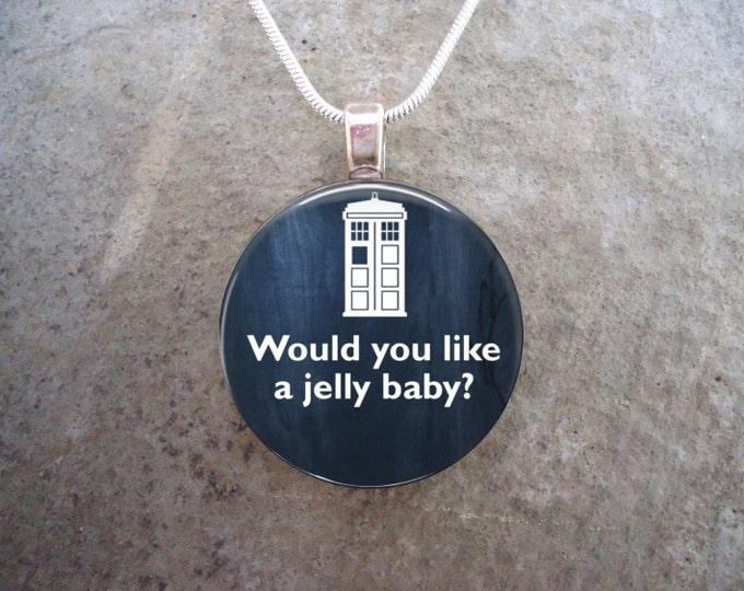 Doctor Who Jewelry - Glass Pendant Necklace - Would You Like A Jelly Baby?