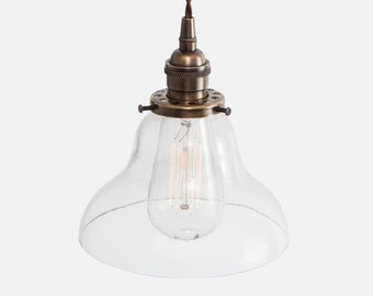 Glass Bell Pendant Light - Vintage Brass - Curved Glass Pendant Lighting Fixture - Plug In Pendant Light or Hardwire w/ Ceiling Canopy Kit