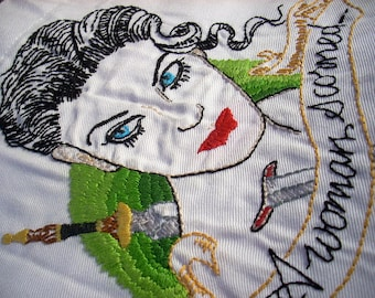 A Woman Scorned Embroidery based on Jason Minauro's Art