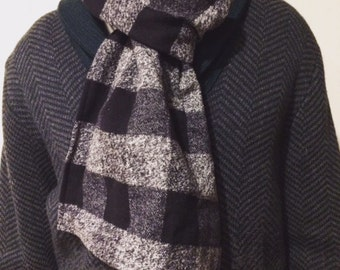 Men's Scarf - Black and Gray Plaid Scarf
