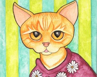 Orange Cat Wearing Sweater - Watercolor Painting - Art Print