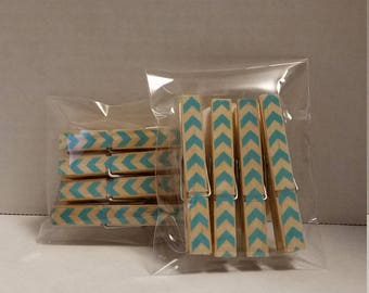 Light blue chevron  clothespin magnets