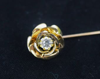 Vintage 1980s rose with rhinestone center stick pin