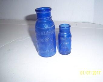 1920's Lot of 2 Bromo Seltzer Emerson Drug Co Baltimore, MD 2 1/2 to 4   inch cobalt blue medicine bottles No 2 - 2017