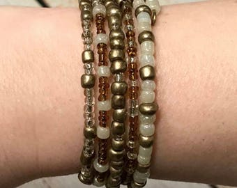 Stacked-Look Glass Bead Memory Wire Bracelet with 5 Designs