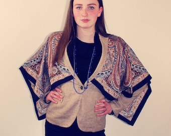 Upcycled Jacket, Bohemian Jacket, High Low Jacket, Blazer, Unique Jacket, Embellished Jacket, Upcycled Clothing, Bohemian Clothing