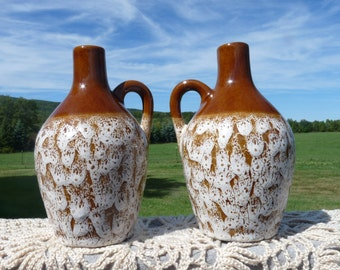 Pigeon Forge POTTERY Lot (Set ) of Two Brown Crater Glaze Jugs...USA Made in Tennessee.