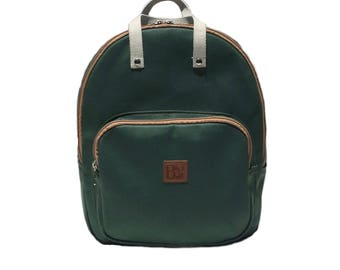 English Green cotton canvas backpack bicycle style/school bag/ travel backpack green backpack