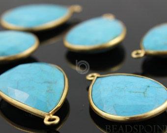 Natural TURQUOISE, Bezel  Pear Shape Turquoise Component,  Gold Vermeil,    18x25mm, 1 Piece, (BZC7100)