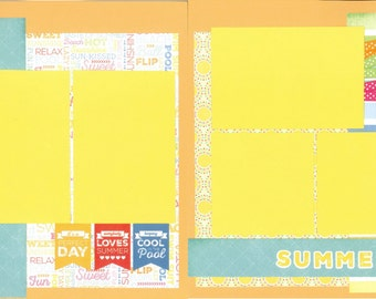 12x12 SUMMER DAYS scrapbook page kit, premade summer scrapbook, 12x12 scrapbook page kit, premade scrapbook pages, 12x12 scrapbook layout