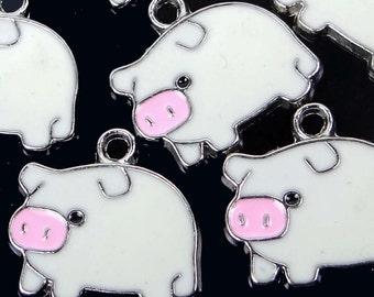 6 Enamel Pewter Lucky Pig Pendant Charm 18x20mm (e7714)