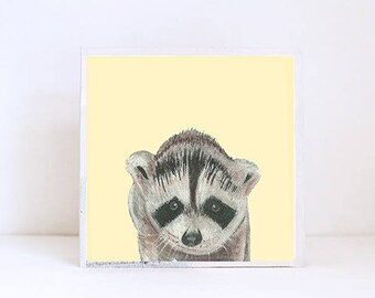 woodland nursery art, forest nursery decor, raccoon wall art- nursery decor- kids room decor- art block- wall art- nusery- redtilestudio