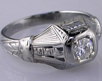 18K White Gold Antique .29ct Diamond Hand Engraved Ring