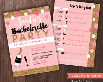Bachelorette Weekend invitation with itinerary, bachelorette itinerary, PRINTABLE bachelorette invites, gold hen party invite with itinerary