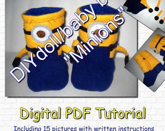 "DIY doll/ baby booties ""Minions"" tutorial"