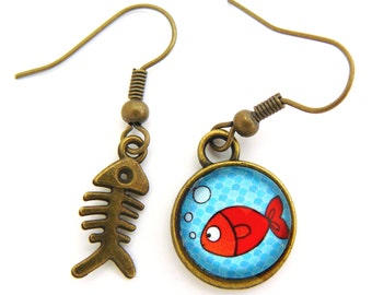 Little red fish and fish bone cabochons earrings
