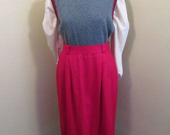 Vintage Evan Picone red wool pencil skirt