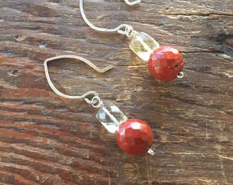 Lemon Quartz and Red Jasper Earrings in Sterling Silver