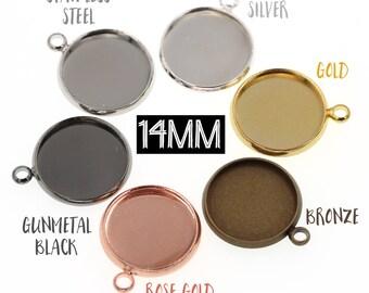10pcs 14mm Brass Druzy Settings Pendant Tray Blanks, Rose Gold Tone, Gunmetal Tone, Stainless Steel Tone, Silver Tone, Gold Tone Bronze Tone