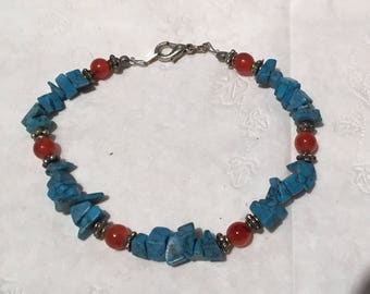 Turquoise and amber bracelet