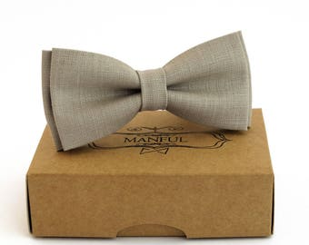 Bow tie, wedding bow tie, linen necktie,  groomsmen necktie,   bow tie for men