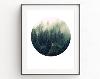 Forest Print, Geometric Print, Geometric, Forest, Digital Download, Forest Art Print, Printable Wall Art, Circle Print, Forest Photography