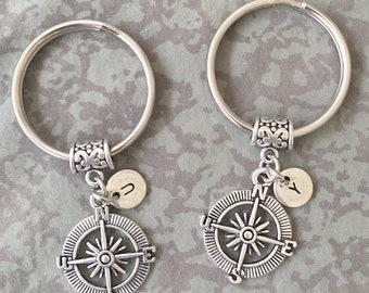 Compass Keychains/ Compass Best Friends/ Compass BFF Keychains/ Compass Initial Keychain/ Best Friends/ Distance Gift/ Travel Gift/ Nautical