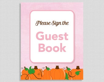 Guest Book Sign, Pink Pumpkins, Baby Girl Shower Sign, Fall Baby Shower, INSTANT PRINTABLE
