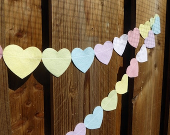 Pastel Baby Garland Felt Hearts - made with wool blend felt in pastel rainbow colours, perfect for baby shower, new baby celebrations.