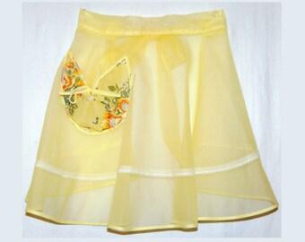 "Vtg sheer yellow half apron nylon organdy party hostess 24-26"" waist small"