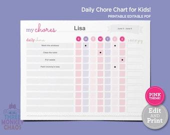 PINK - Chore Chart for Kids | Weekly Chores | Daily Job Chart | Kids Rewards Chart | Responsibilities Checklist | Editable PDF Download