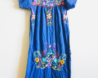 Embroidered Mexican dress Caftan boho hippie small/ medium brights traditional floral royal blue Frida Kahlo Oaxacan