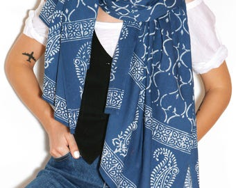 Cotton scarf, blue scarf, cotton scarf for women, summer scarf, light scarf, scarf with handmade print, unique scarf, beautiful scarf