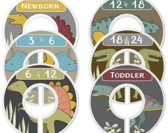 Custom Baby Closet Dividers Colorful Dinosaur Clothes Organizers Baby Shower Gift Baby Boy Gift