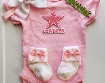 dallas cowboys baby outfit-pink dallas cowboys-dallas cowboy baby shower gift-baby cowboys-newborn dallas cowboys-cowboys take home outfit