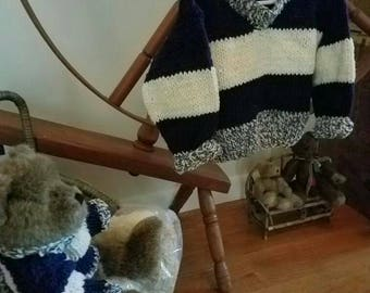 Child's sweater with 4 color stripe