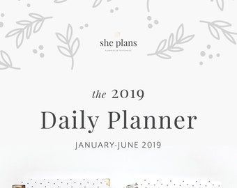 2019 Daily Planner | Six-Month Planner, 2019 Diary, Daily Agenda, Appointment Book, Academic Planner, Style No. JAN19/BWD