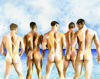 "PRINT Original Art Work Watercolor Painting Gay Male Nude ""Beach party"""