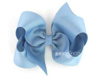 Girls Hair Bows - french blue hair bow - 4 inch bows - large hair bows - girls hairbows - bows for girls - toddler hair bows - big hair bows