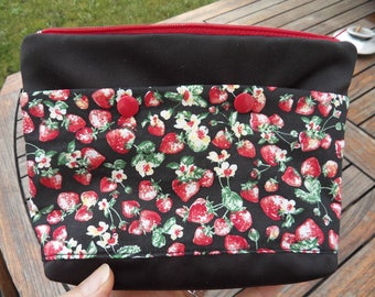 Fabric makeup Kit strawberries with outside pockets