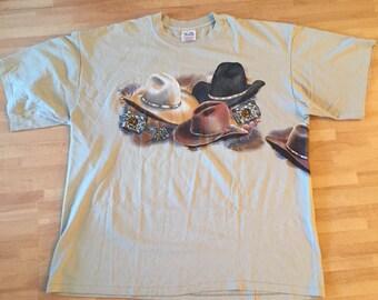 Vintage cowboy hat T-shirt // mens 2X