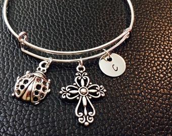 Ladybug Bangle, Lady beetle, ladybird, antique ladybug, Expandable bangle, Personalized bracelet, Charm bangle, Monogram, Initial bracelet