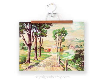 Vintage Paint by Number, Red Barn, Country Road, Farm, Print Your Own, Instant Art, Digital Download, Print up to 16x20