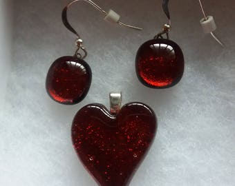 RED DICHROIC HEART Set   Red Dichroic Fused Glass Heart and Dangling Earrings Trina Rindy