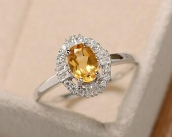 Citrine ring, natural crystal ring, yellow quartz ring, delicate ring