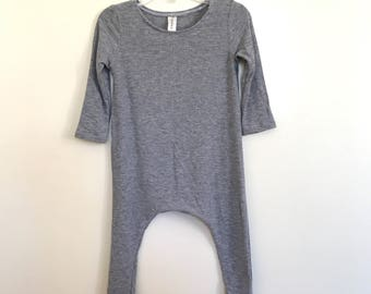Grey Lightweight Rib Knit Harem Romper- baby onesie, solid romper